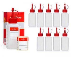 10 x 100 ml Octopus flacons en plastique, flacons faits de plastique en PEHD avec des bouchons pissette ou compte-gouttes rouges, utilisables par exemple pour les e-liquides / e-cigarettes, résistants aux produits chimiques, y compris 10 étiquettes de la image 0 produit