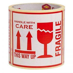 100 Autocollants Fragile avec inscription en anglais This Way Up Handle With Care Autocollants Grande taille 10 x 10 cm White-red de la marque ENVO image 0 produit