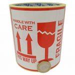 100 Autocollants Fragile avec inscription en anglais This Way Up Handle With Care Autocollants Grande taille 10 x 10 cm White-red de la marque ENVO image 2 produit