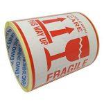 100 Autocollants Fragile avec inscription en anglais This Way Up Handle With Care Autocollants Grande taille 10 x 10 cm White-red de la marque ENVO image 3 produit