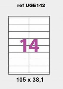 100 planches d'étiquette adresse au normes postales pour affranchissement courrier – planche de 14 étiquettes 99 x 38 mm pour adressage de mailing – notice et gabarit Word pour publipostage courrier fournis sur demande marque UNIERS GRAPHIQUE REF UGE141 d image 0 produit