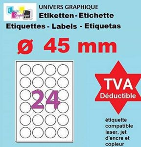 100 Planches de 24 étiquette rondes diamètre 45 mm = 2400 étiquettes Ø 45 - Blanc Mat - pour imprimantes Laser et Jet d'encre - Feuilles A4 autocollantes référence univers UGEROND45 de la marque UNIVERS GRAPHIQUE image 0 produit