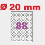 100 Planches de 88 mini étiquette rondes diamètre 20 mm = 8800 étiquettes Ø 20 - Blanc Mat - pour imprimantes Laser et Jet d'encre - Feuilles A4 autocollantes référence univers UGEROND20 ref informatique Word planet 101500 de la marque UNIVERS GRAPHIQUE image 1 produit