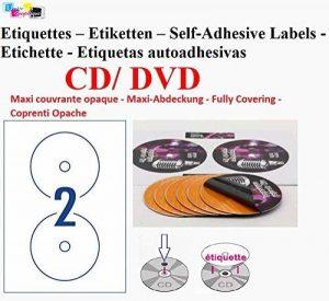 100 étiquettes CD - DVD autocollantes VERSO OPAQUE autocollant de diamètre 117 mm + trou 17 mm – verso opaque pour éliminer tout effet de transparence (cd couleur ou imprimé) ou pour couvrir une étiquette existante - livré avec curseur de placement – feui image 0 produit