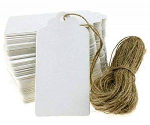 100pcs Papier Kraft Blanc Étiquettes de Prix Soirée Mariage Étiquette Cartes-cadeaux de la marque image 0 produit