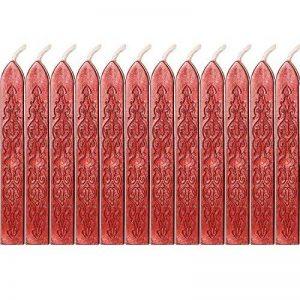12 Pièces Bâtons de Cire à Cacheter avec Mèches Antique Cire d'Étanchéité pour Manuscrit de Feu pour Timbre de Cachet de Cire (Couleurs de Vin Rouge) de la marque Bememo image 0 produit