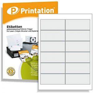 1200 Étiquettes autocollantes sur feuilles a4–support 97 x 42,3 mm (blanc) de la marque Printation image 0 produit