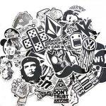 120PCS Autocollant en vinyle blanc noir Sticker Graffiti Parfait pour les ordinateurs portables, les planches à roulettes, les bagages, les voitures, les pare-chocs, les vélos, la moto, le casque, la fenêtre, la guitare, le snowboard, le téléphone portabl image 1 produit