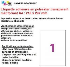 15 ex Etiquette adhésive en polyester transparent mat laser A4 210 x 297 mm pour imprimante laser autocollant pour tout support lisse (plastique, verre, métal) résistante à l'humidité et la chaleur. Idéal pour affiche, panneau, sticker, pour l'étiquetage image 0 produit