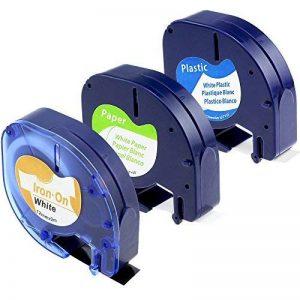 1x Dymo Étiquettes en tissu thermo-rétractable LetraTag, 1x Étiquettes en papier LetraTag, 1x Étiquettes en papier LetraTag, Compatible avec Etiqueteuse DYMO LetraTag LT-100H LT-100T 2000 Plus Printers, Impression en Noir sur Fond Blanc, 3-Pack de la marq image 0 produit