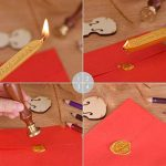 2 Pièces d'Or Cire pour Lettre Cire Bâton à Cachet Vintage avec Mèche et 1 Pièce Joint Timbre de la marque Outus image 2 produit