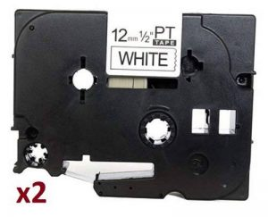 2 x TZe231 (12mm x 8m) Ruban Cassette noir sur blanc - 2 x Etiquettes Ruban laminé Rouleaux pour Brother P-Touch PT-1000 PT-1000P PT-1000BTS PT-1005 PT-1010 PT-1090 PT-2030VP PT-2430PC PT-3600 PT-9600 PT-D200 PT-D200VP PT-D200BW PT-D210 PT-D210VP PT-D400 image 0 produit