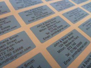 200 bleu personnalisé imprimé mini adresse étiquettes auto-adhésives 40x20mm AUTOCOLLANTS (GRATUIT Emailed Anti Rouille AVANT imprimé) de la marque Minilabel image 0 produit