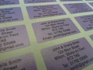 200 nacré violet personnalisé imprimé mini adresse étiquettes auto-adhésives 40x20mm AUTOCOLLANTS (GRATUIT Emailed Anti Rouille AVANT imprimé) de la marque Minilabel image 0 produit