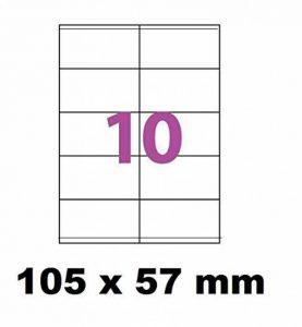 250 Étiquettes 105 x 57 mm soit 25 feuilles de 10 Étiquettes blanches adhésives personnalisables . étiquettes 10.5 x 5.7 cm autocollantes pour imprimante jet d'encre et Impression laser .étiquette utilisable sur logiciels avec code Herma 4425 ou AVERY Zwe image 0 produit
