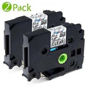 2x Ruban pour Etiqueteuse 12mm Compatible Brother P-touch TZe-131 TZe131 Laminé Ruban Cassettes avec PT-H100LB PT-E100 PT-D400 PT-1250 PT-H110 PT-1000 PT-1010R, Noir sur Transparent de la marque Fimax image 0 produit