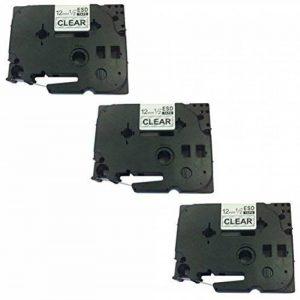 3 Cassettes Rubans d'étiquettes TZe131 TZ131 noir sur transparent 12mm x 8m | compatible pour Brother P-Touch PT-1000 1000P 1000BTS 1005 1010 1090 2030VP 2430PC 3600 9600 D200 D200VP D200BW D210 D210VP D400 D400VP D450VP D600VP E100 E100VP E300VP E550WVP image 0 produit