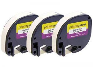 3 Compatibles DYMO LetraTag S0721550 12267 12mm x 4m Noir sur Transparent Rubans Plastique pour Etiqueteuses DYMO LetraTag LT-100H LT-100T LT-110T QX50 XR XM 2000 Plus de la marque Printing Saver image 0 produit