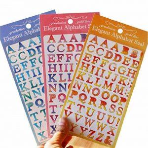 3Couleur 189pcs élégant de gradation Lettre de l'alphabet avec Gold Line Stickers Education Label Autocollant décoratif pour DIY Craft de la marque tianxiang image 0 produit