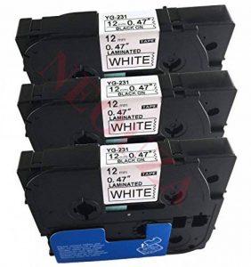 3Ruban adhésif à étiquette pour Brother tz, Tze 231TZ-231TZe-231, P-Touch Noir sur Blanc Laminé 12mm x 8m de la marque Label-Brother image 0 produit