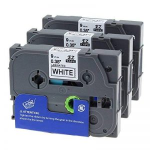 3 x Ruban Cassette Laminé TZ Tape Compatible avec Brother TZe-221 / TZ-221 9mm x 8m Noir sur Blanc pour Brother P-Touch PT-1000 PT-1010R de la marque Unistar image 0 produit
