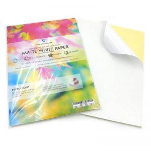 30 feuilles adhésives format A4 finition mate blanche compatibles imprimantes à jet d'encre et laser de la marque Evergreen Goods image 0 produit