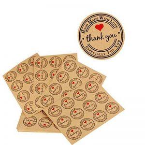 ❤(300pcs) 25 feuilles de Rond Thank You Autocollants avec Coeur Rouge - Handmade with Love & Especially for You Stickers Etiquettes pour Mariage Cadeau ou Enveloppe de la marque AONER image 0 produit