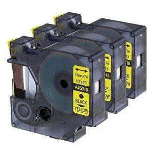 3x Compatible Dymo D1 45018, Ruban pour étiqueteuse Noir sur Jaune 12mm x 7m, pour DYMO Label Manager 100, 120P, 160, 200, 210D, 220P, 260P, 280, 300, 360D, 400, 420P, 450, 450D, PC, PC II, PnP de la marque Oozmas image 0 produit