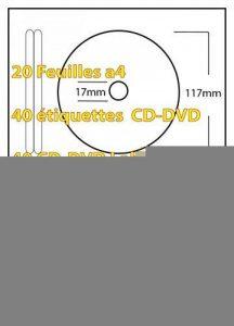 40 Étiquettes CD-DVD - 20 Feuille a4 avec 2 étiquette en papier blanc mat de qualité supérieure 70g/m2 avec feuille de support blanc / backing silicone 66g/m2. Nos planches d'étiquettes sont 100% compatibles toutes imprimantes bureautique: jet d'encre, la image 0 produit