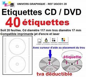 40 étiquettes CD - DVD autocollantes standard autocollant de diamètre 117 mm + trou 17 mm - livré avec curseur de placement – feuille de 2 étiquettes – étiquette cd/dvd pour imprimante jet d'encre et laser- pour imprimer et personnaliser vos cd avec des i image 0 produit