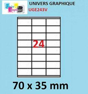 480 etiquettes 70 x 35 mm - 20 feuilles A4 - 24 étiquettes autocollante par par planche A4 pour imprimante jet d'encre et laser de la marque UNIVERS GRAPHIQUE image 0 produit