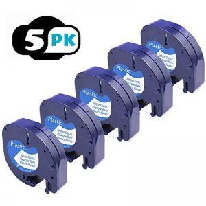 5 paquet 91201 Compatible Ruban Dymo LetraTag for Etiqueteuses,Pour 91220 Plastique, 12 mm x 4 m, Noir sur Fond Blanc de la marque Label-online image 0 produit