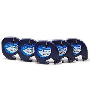 5 Ruban Compatible Dymo LetraTag 91201 S0721610 Plastique Bande d'étiquettes 12mm x 4m Noir sur Blanc adapté pour Dymo LetraTag LT-100H LT-100T LT-110T QX 50 XR XM 2000 Plus Label Makers de la marque yenlok image 0 produit