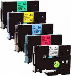 5rubans Cartouches compatible à Brother 231–73112mm 8m longue laminé remplace Tze-431231, Tze, Tze-531, Tze 631, TZe-731//Noir/Bleu/Rouge/Jaune/Vert sur blanc de la marque Maximustrade image 0 produit