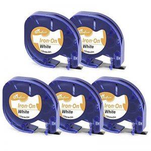 5 x Remplace les étiquettes de tissu Dymo S0718850 LT, ruban à repasser 18768 S0718840 Compatible avec Dymo LetraTag étiquettes thermocollantes LT-100H Plus LT-100T Plus QX50 XR XM 2000 Noir sur blanc Rouleau 12 mm × 2 m de la marque MarkField image 0 produit