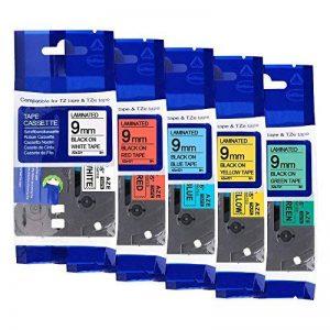 5 x Ruban Cassette Laminé TZ Tape Compatible avec Brother TZe-221/TZe-421/TZe-521/TZe-621/TZe-721 9mm x 8m Noir sur Blanc/Rouge / Bleu/Jaune / Vert pour Brother P-Touch PT-1000 de la marque COLORWING image 0 produit