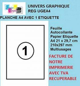 50 feuilles A4 papier adhésif blanc - Étiquette autocollante 210x297mm - planche adhésive permanente marque UNIVERS GRAPHIQUE- UGEA4 FACTURE AVEC TVA DÉDUCTIBLE de la marque UNIVERS GRAPHIQUE image 0 produit