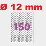 50 Planches de 150 mini étiquette rondes diamètre 12 mm = 7500 étiquettes Ø 12 - Blanc Mat - pour imprimantes Laser et Jet d'encre - Feuilles A4 autocollantes référence univers UGEROND12 de la marque UNIVERS GRAPHIQUE image 1 produit