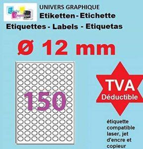 50 Planches de 150 mini étiquette rondes diamètre 12 mm = 7500 étiquettes Ø 12 - Blanc Mat - pour imprimantes Laser et Jet d'encre - Feuilles A4 autocollantes référence univers UGEROND12 de la marque UNIVERS GRAPHIQUE image 0 produit