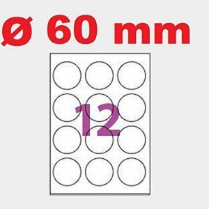 500 Planches de 12 étiquette rondes diamètre 60 mm =6000 étiquettes Ø 60 - Blanc Mat - pour imprimantes Laser et Jet d'encre - Feuilles A4 autocollantes référence univers UGEROND60 de la marque UNIVERS GRAPHIQUE image 0 produit