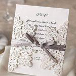 50X WISHMADE invitations de mariage coupé au laser avec des fausses fausses et creuses, y compris un autocollant et des enveloppes WM207 de la marque WISHMADE image 1 produit