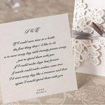 50X WISHMADE invitations de mariage coupé au laser avec des fausses fausses et creuses, y compris un autocollant et des enveloppes WM207 de la marque WISHMADE image 2 produit