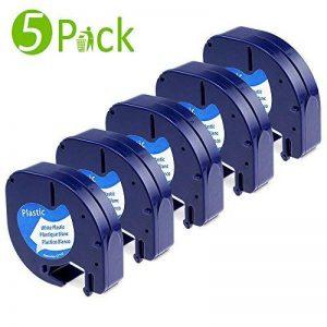 5PK Compatible Dymo LetraTag Ruban Plastique - 12mm x 4m 91201 S0721610 - Noir sur Blanc pour Étiqueteuse Dymo LetraTag LT-100H LT-100T LT-110T QX 50 XR XM 2000 Plus de la marque Fimax image 0 produit