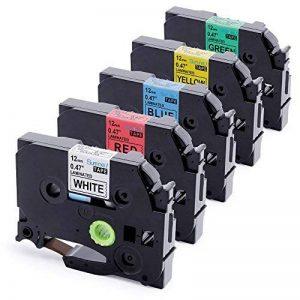5x TZe Ruban Cassette 12 mm Compatible avec Brother P-Touch PT-H100LB PT-E100 PT- P700 PT-D600VP PT-D400 PT-1000, 8 Meter, Noir sur Blanc/ Rouge/ Bleu/ Jaune/ Vert. de la marque startup image 0 produit