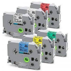 6 Pack TZe141 TZe241 TZe441 TZe541 TZe641 TZe741 Étiquette à Ruban laminé, Cassettes d'étiquettes Compatible avec l'étiqueteuse Brother P-touch PT-D600VP PT-H500LI PT-P700 PT-P750W 18 mm x 8 m de la marque colorty image 0 produit