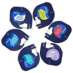 6 Rubans pour Dymo LetraTag Plastique étiquette 12mm x 4m, Compatible avec Dymo LetraTag LT-100H, LT-100T/Plus, LT-110T, QX 50, XR, XM, 2000, Dymo 91201, 12267, 91202, 91203, 91204, 91205 (Lot de 6) de la marque Markurlife image 0 produit