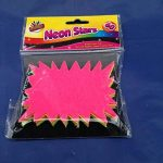60x néon fluorescent Étoiles–10cm x 7,5cm Assortis Néon Cartes flashs affichage prix Étiquettes Lebel Shop de la marque ARTBOX image 1 produit
