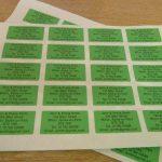 600 x vert personnalisé imprimé mini adresse étiquettes auto-adhésives 40x20mm AUTOCOLLANTS (GRATUIT Emailed Anti Rouille AVANT imprimé) de la marque Minilabel image 1 produit