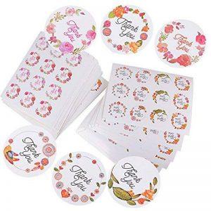 (600pcs) 50 feuilles de Rond Thank You Autocollants avec Fleur en Deux Motifs Stickers Etiquettes pour Mariage Cadeau ou Enveloppe(25 Feuilles par chaque Motif) de la marque DEOMOR image 0 produit