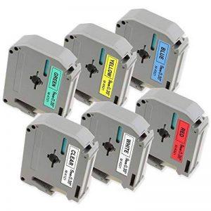 6x Ruban Brother P-touch M-K221 M-K121 M-K421 M-K521 M-K621 M-K721, 9 mm x 8 m, pour Etiqueteuse Brother P-touch PT-80, PT-65, PT-90, PT-M95, PT-70BM, PT-85, PT-45, PT-BB4 de la marque Markurlife image 0 produit